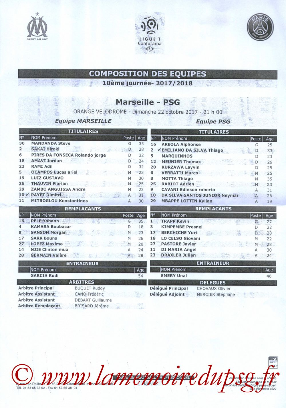 2017-10-22  Marseille-PSG (10ème L1, Feuille de match)