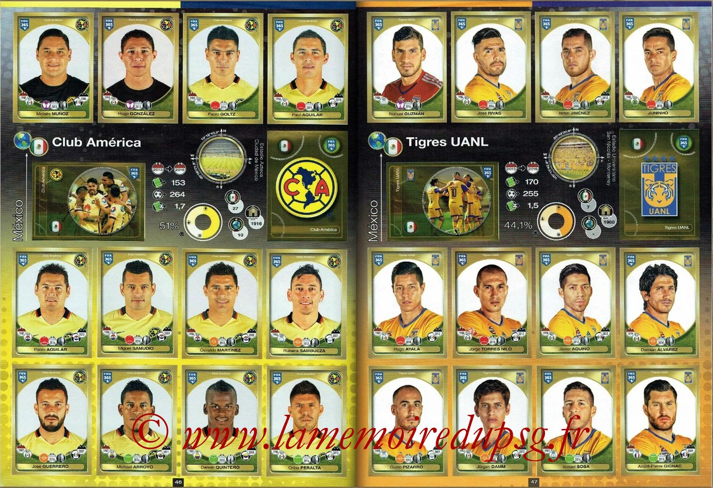 2016-17 - Panini FIFA 365 Stickers - Pages 46 et 47 - Club America + Tigres UANL