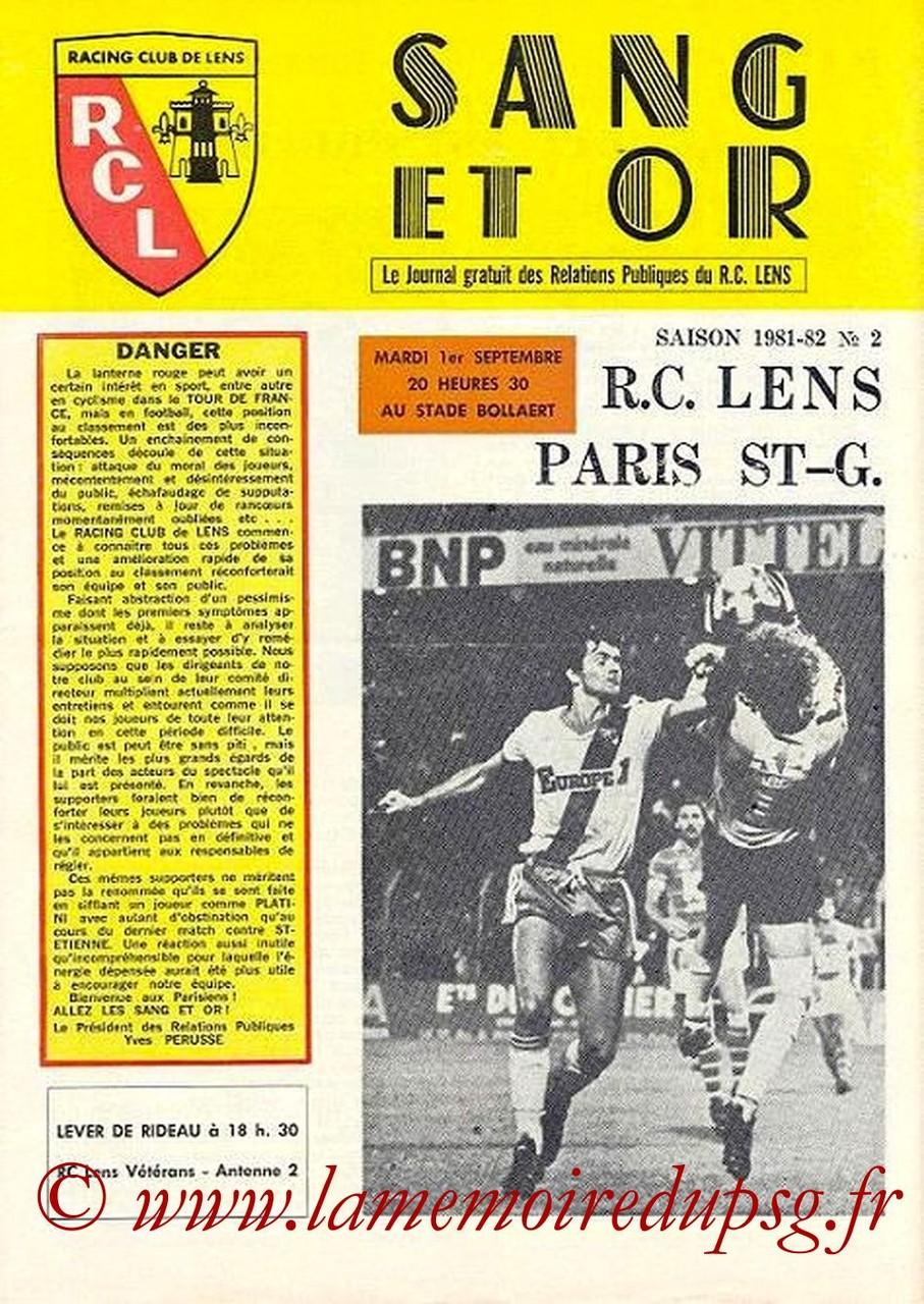 1981-09-01  Lens-PSG  (8ème D1, Sang et Or N°2)