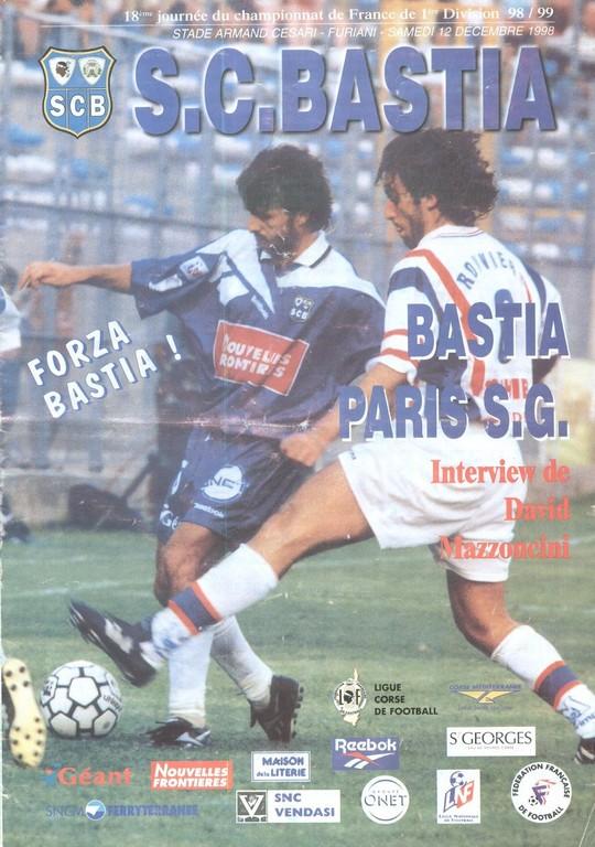1998-12-12  Bastia-PSG (18ème D1, Programme Officiel)