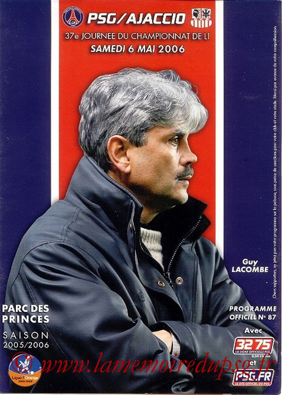 2006-05-06  PSG-Ajaccio (37ème L1, Officiel N°87)