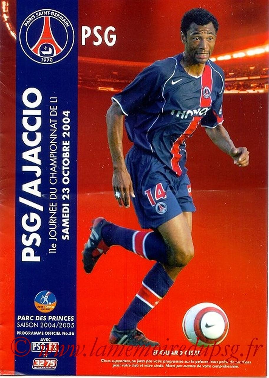 2004-10-23  PSG-Ajaccio (11ème L1, Officiel N°56)