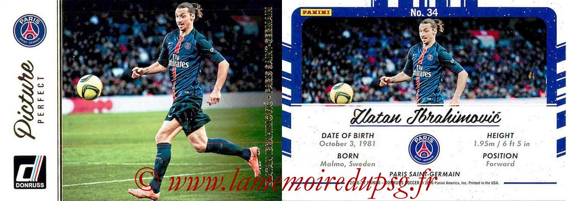 2016 - Panini Donruss Cards - N° PP34 - Zlatan IBRAHIMOVIC (Paris Saint-Germain) (Picture Perfect)