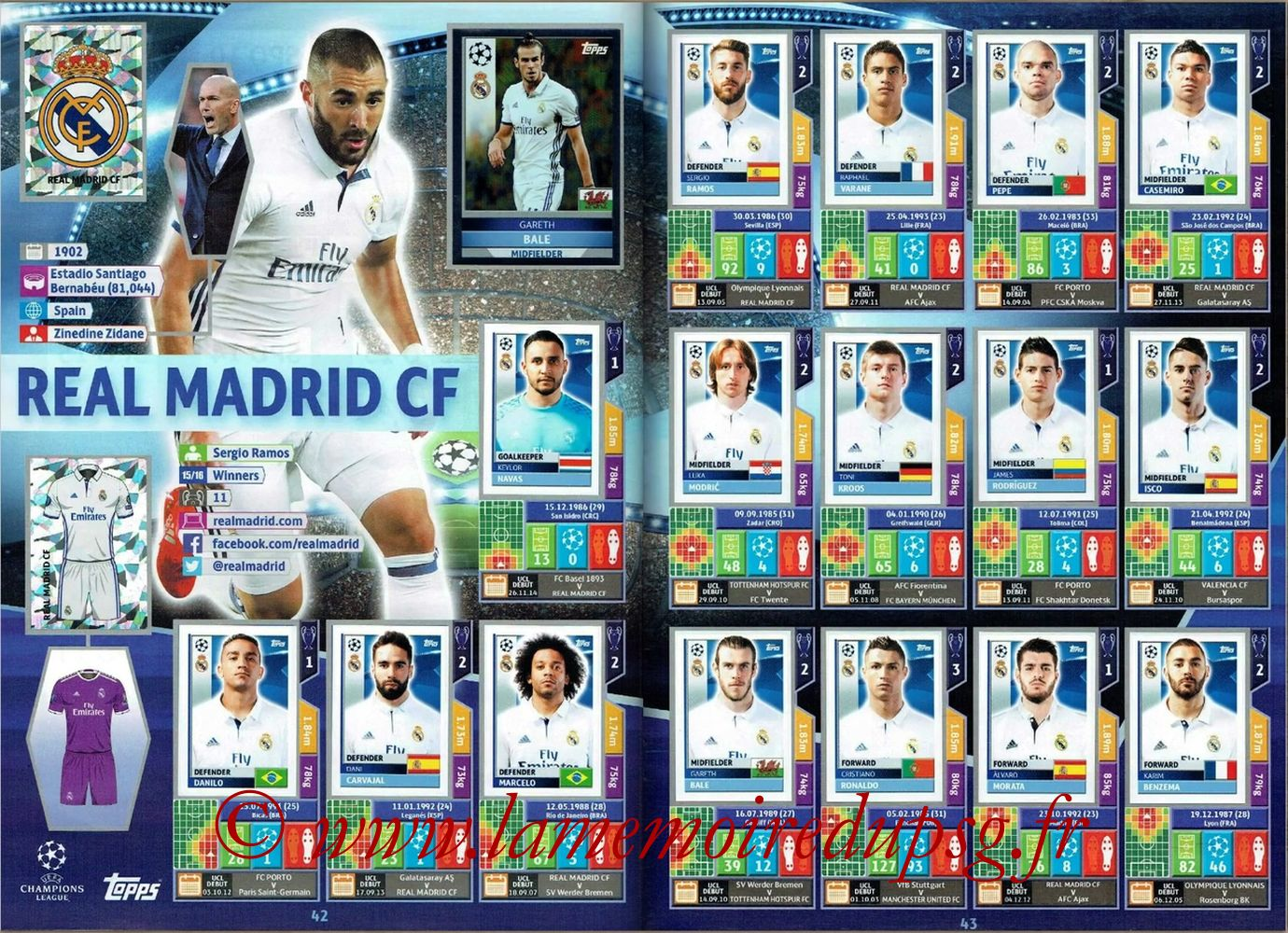 2016-17 - Topps UEFA Champions League Stickers - Pages 42 et 43 - Real Madrid CF