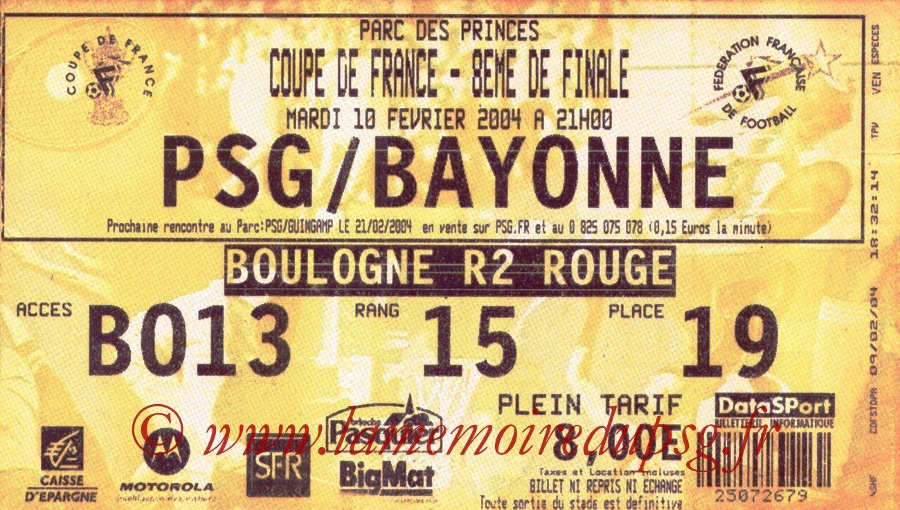 2004-02-10   PSG-Bayonne (8ème Finale CF, bis)