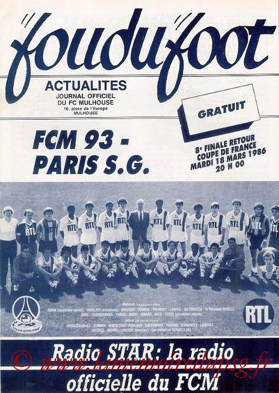 1986-03-18  Mulhouse-PSG (8ème Finale Retour CF, Fou du Foot)