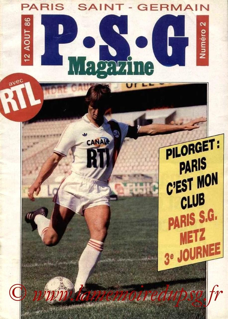 1986-08-12  PSG-Metz (3ème D1, PSG Magazine N°2)