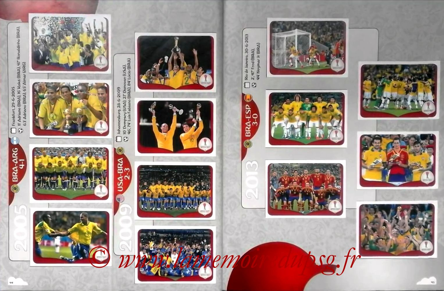 2017 - Panini Confederations Cup Russia Stickers - Pages 44 et 45 - Histoire