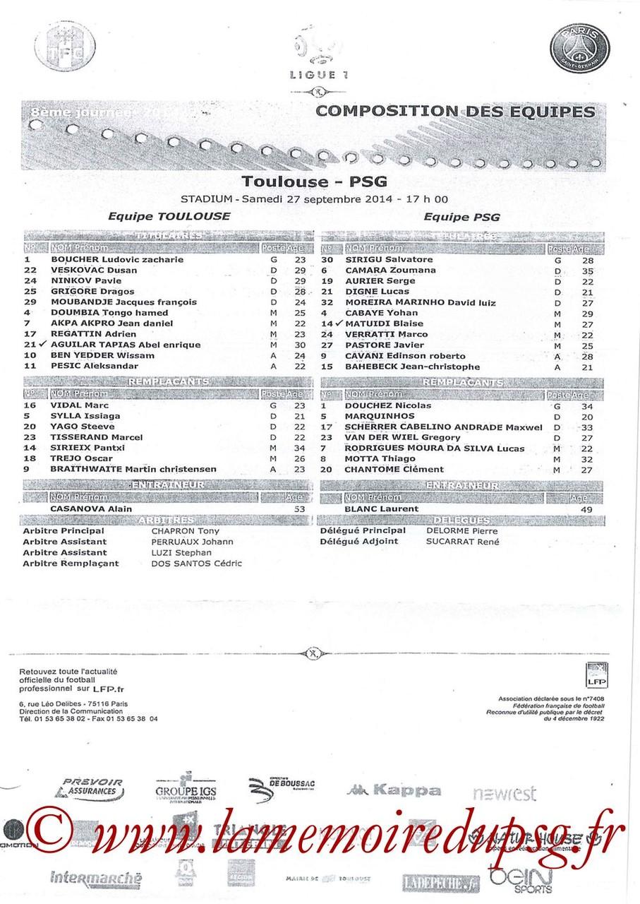 2014-09-27  Toulouse-PSG (8ème L1, Feuille de match)
