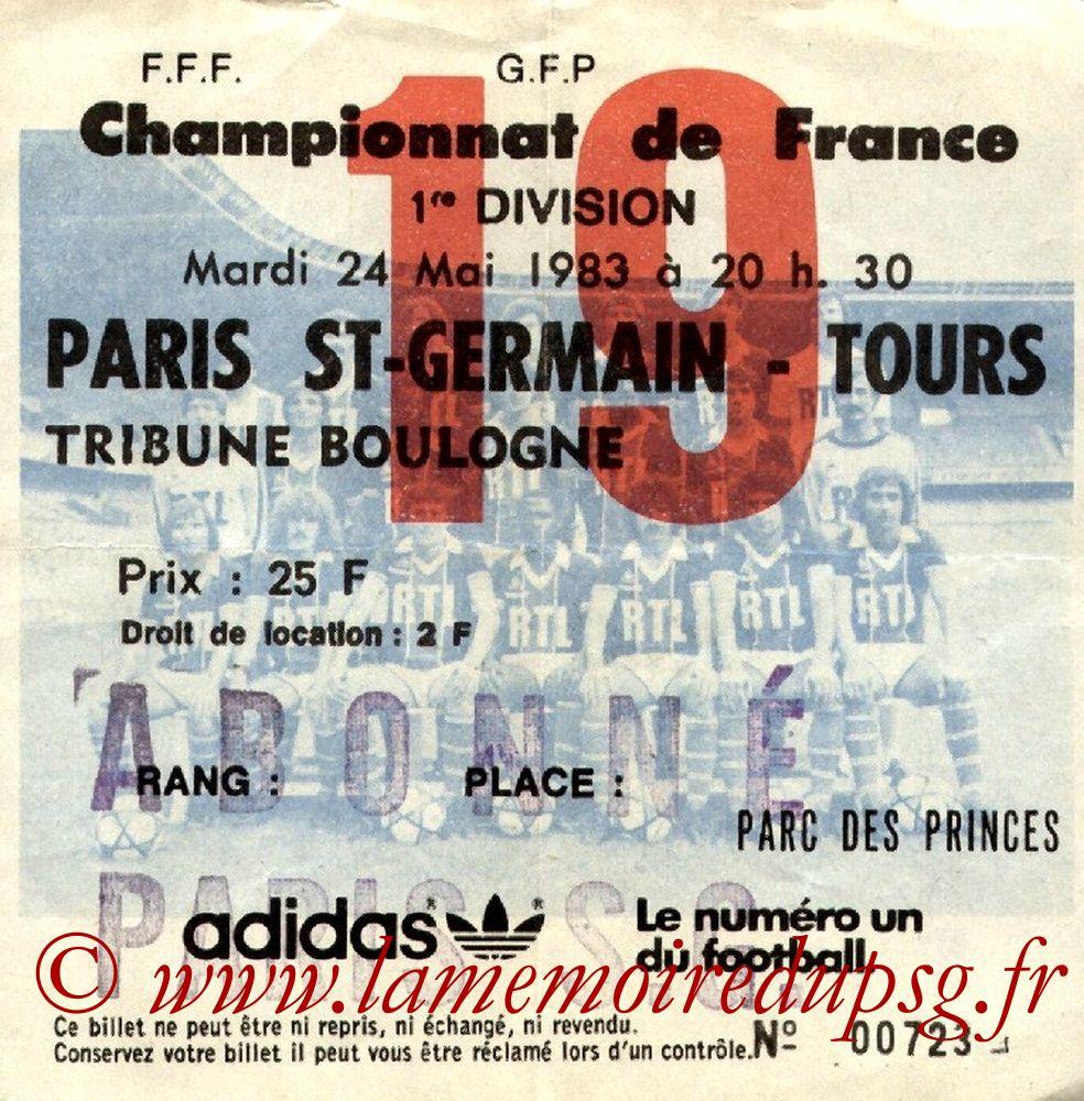 1983-05-24  PSG-Tours (37ème D1, Ticket N°19)