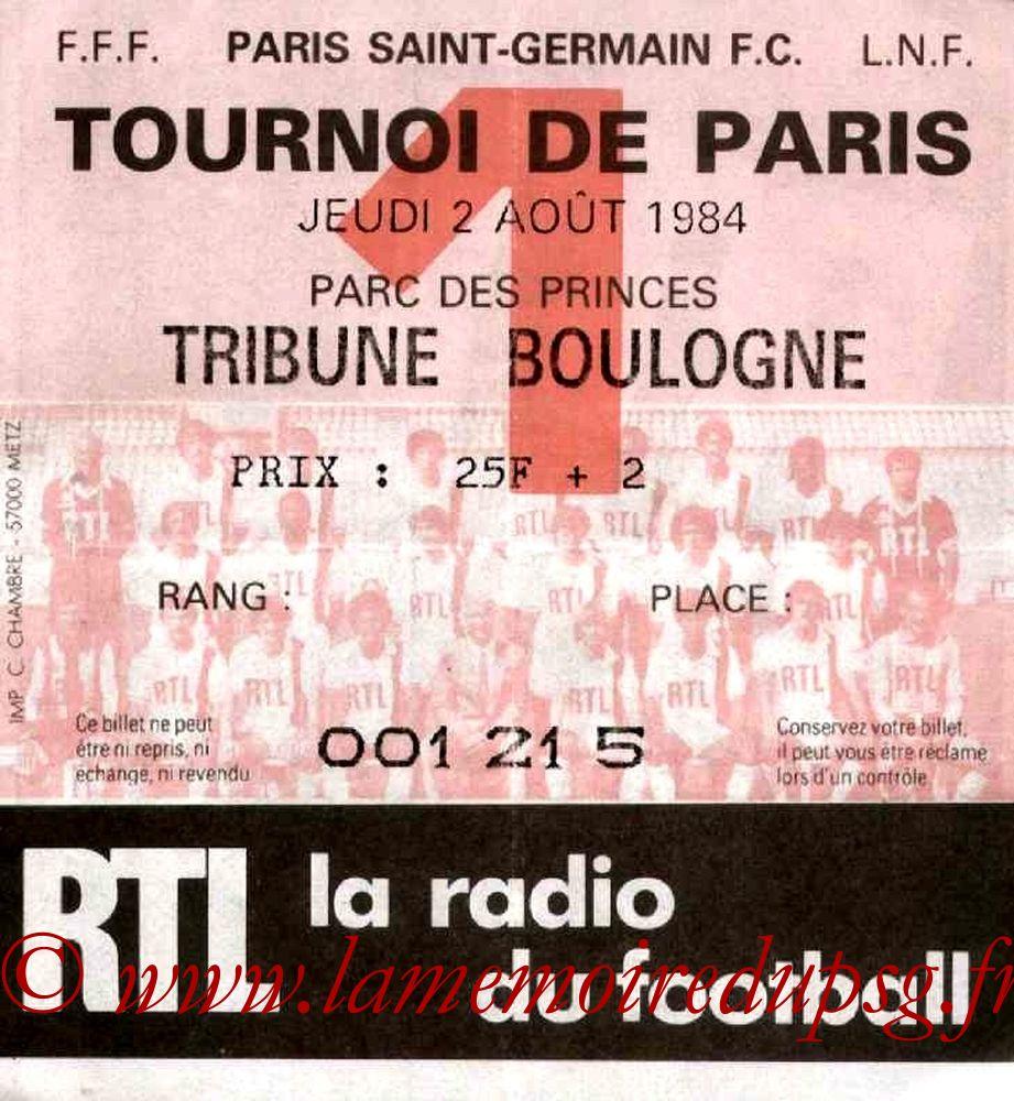1984-08-02  PSG-Servette Genève (Demi-Finale Tournoi de Paris)