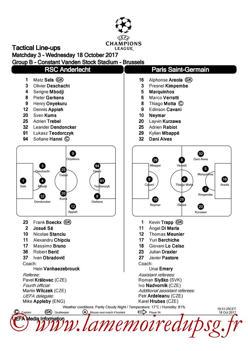2017-10-18  Anderlecht-PSG (3ème C1, Feuille de match UEFA)