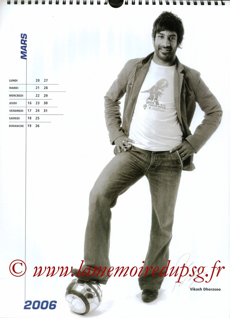 Calendrier PSG 2006 - Page 06 - Vikash DHORASOO