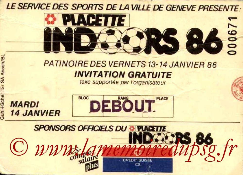 1986-01-14  PSG-Young Boys Berne et PSG-Bayern Munich (2ème journée tournoi indoor de Genève)