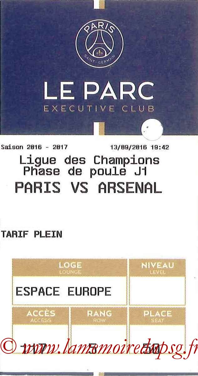 2016-09-13  PSG-Arsenal (1ère C1, E-ticket Executive club)