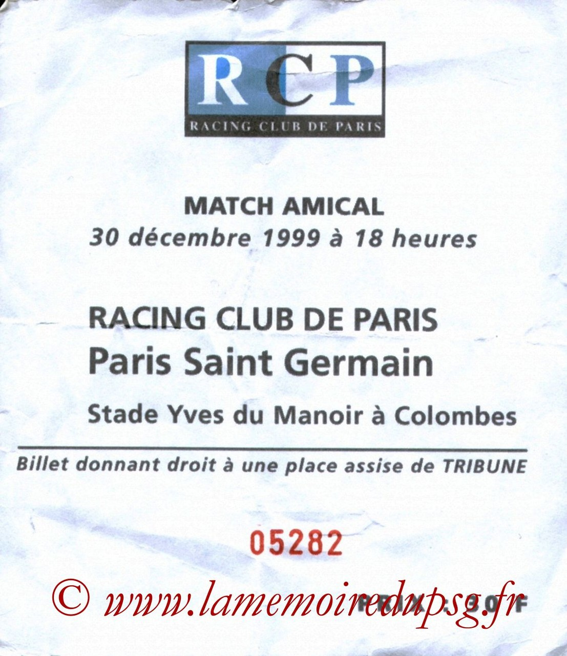 1999-12-30  Racing Club de Paris-PSG (Amical à Colombes)