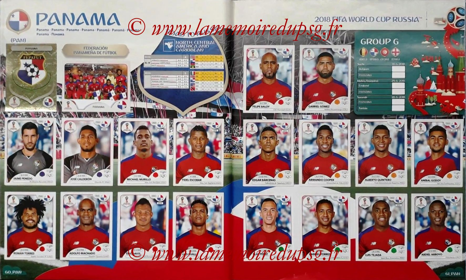 2018 - Panini FIFA World Cup Russia Stickers - Pages 60 et 61 - Panama