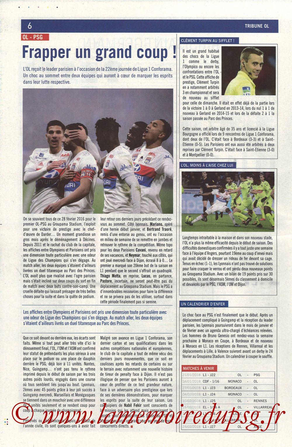2018-01-21  Lyon-PSG (22ème L1, La Tribune OL N° 244) - Page 06