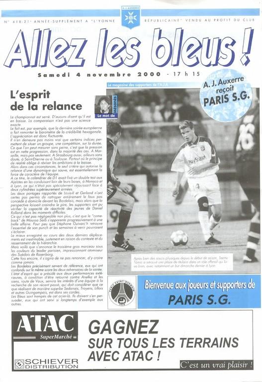 2000-11-04  Auxerre-PSG (14ème D1, Allez les Bleus N° 418)