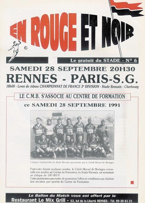 1991-09-28  Rennes-PSG (12ème D1, En Rouge et Noir N° 6)