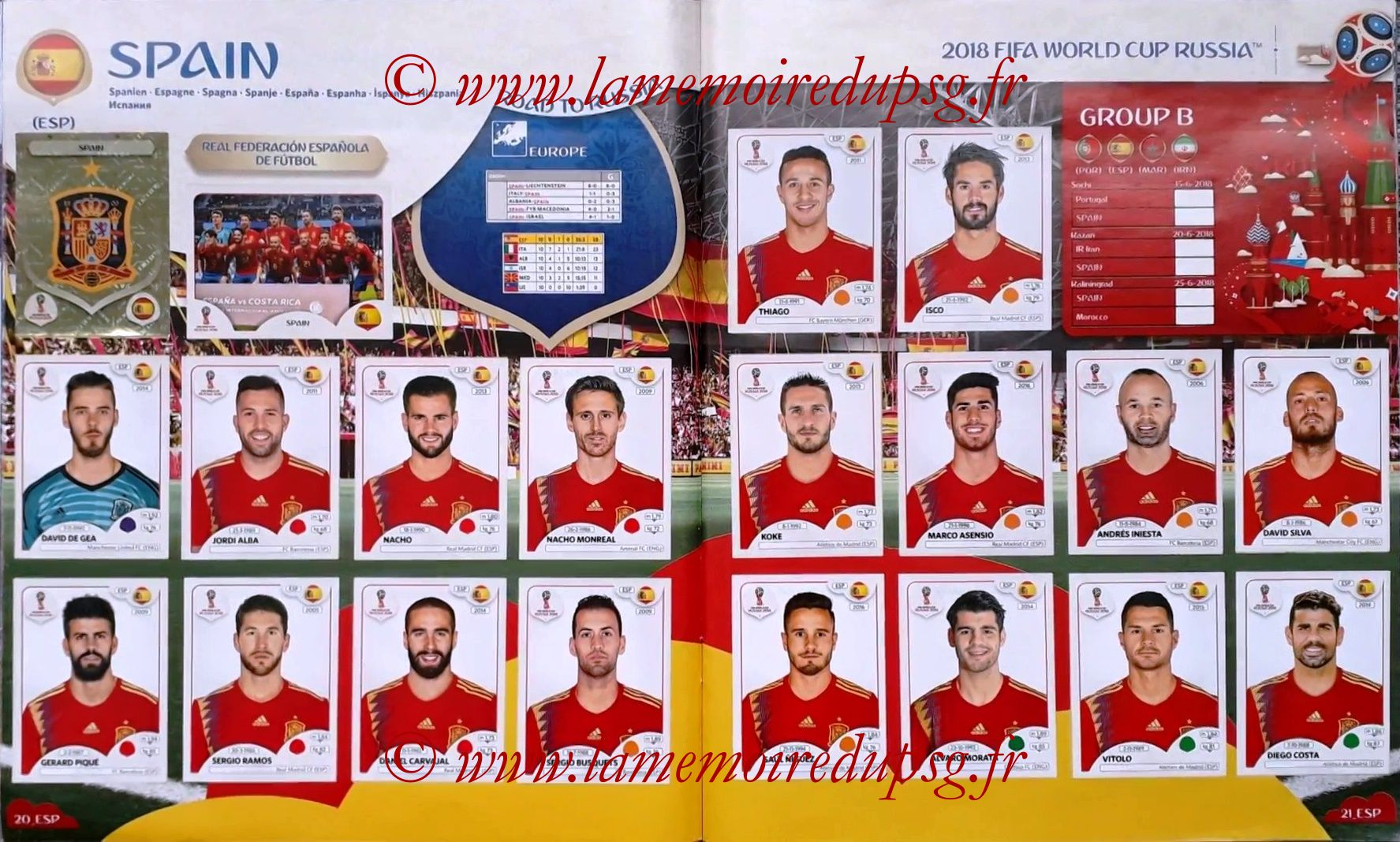 2018 - Panini FIFA World Cup Russia Stickers - Pages 20 et 21 - Espagne