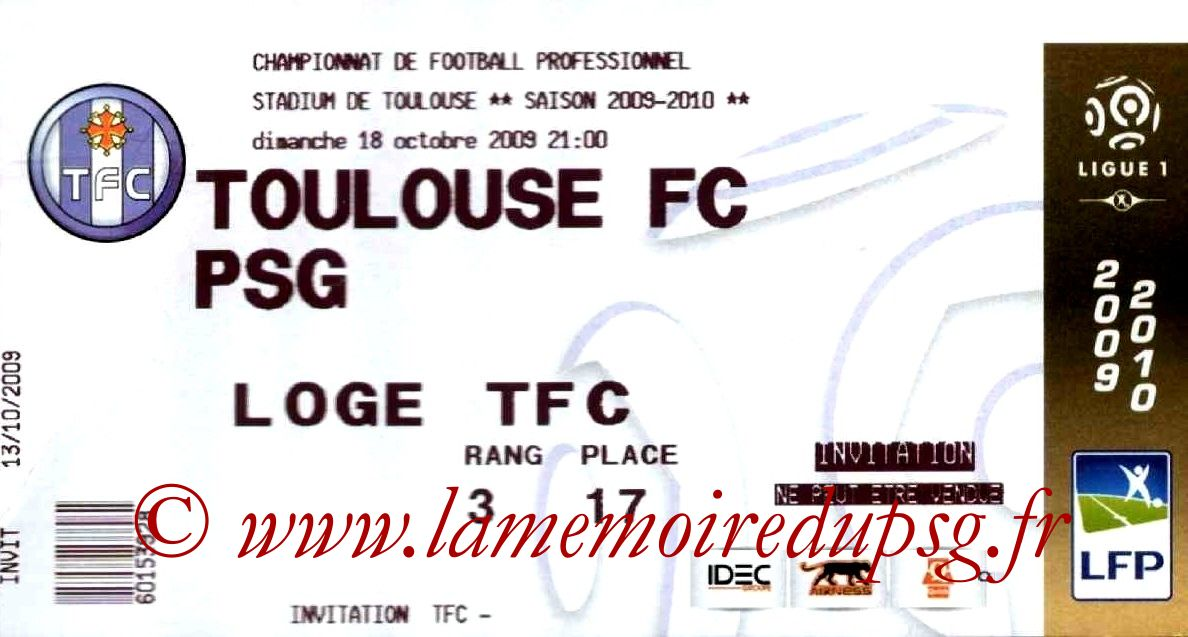 2009-10-18  Toulouse-PSG (9ème L1)