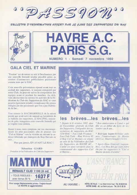 1992-11-07  Le Havre-PSG (14ème D1, Passion N°1)