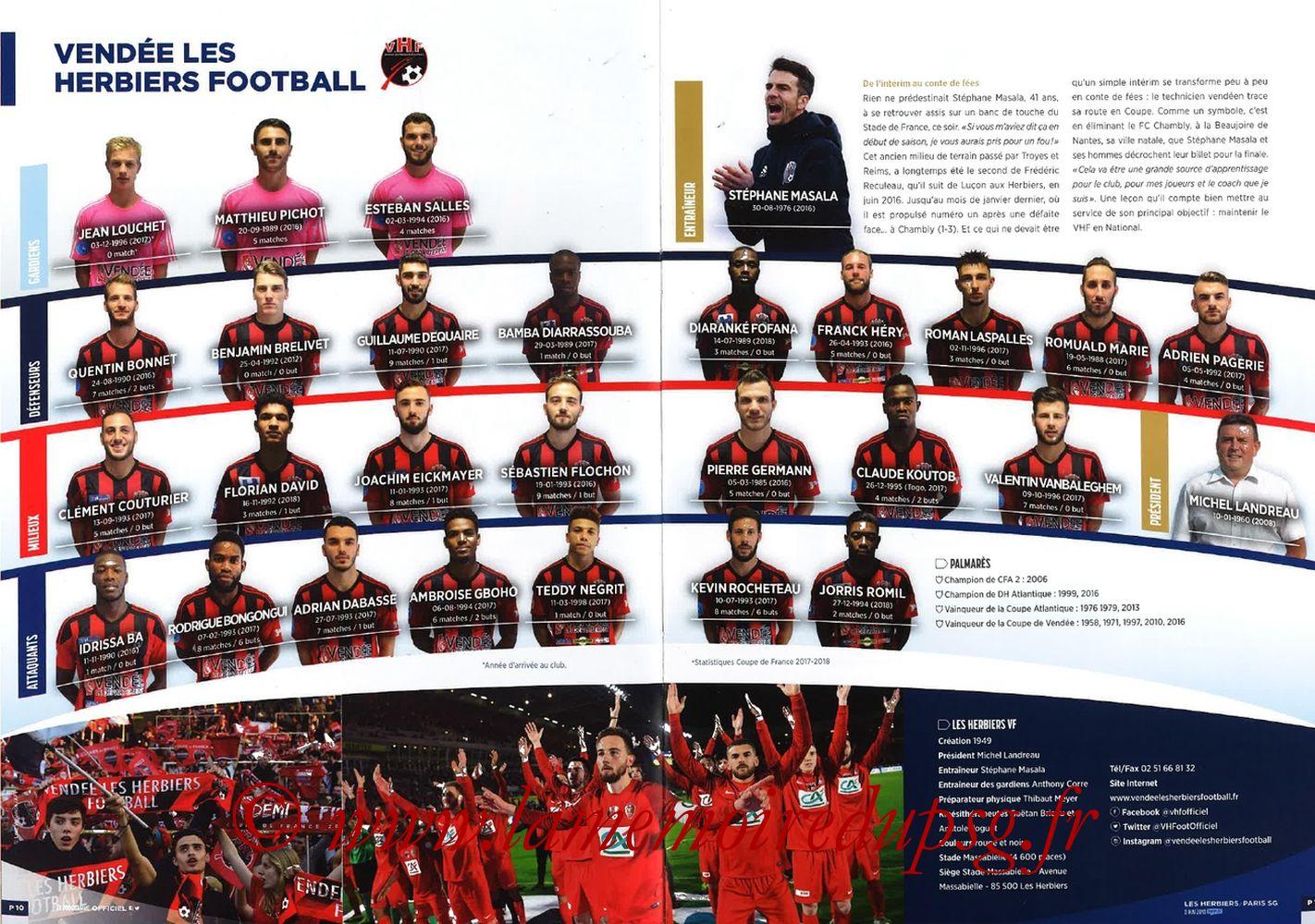 2018-05-08  Les Herbiers-PSG (Finale CF à Saint-Denis, Programme officiel FFF) - Pages 10 et 11