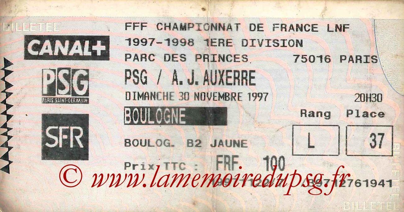 1997-11-30  PSG-Auxerre (18ème D1, Billetel)