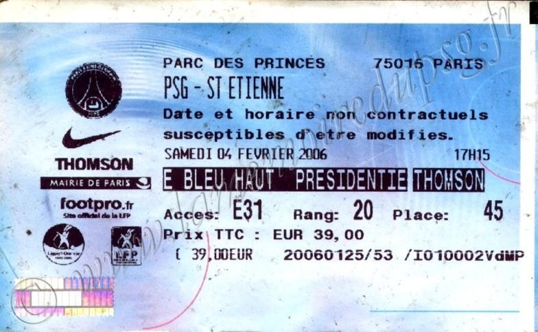 2006-02-04  PSG-Saint Etienne (25ème L1, Billetel)