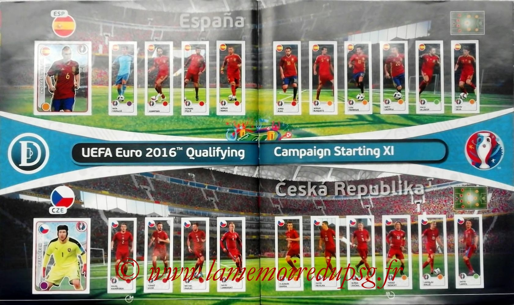 Panini Euro 2016 Stickers - Pages 54 et 55 - Espagne et République Tchèque