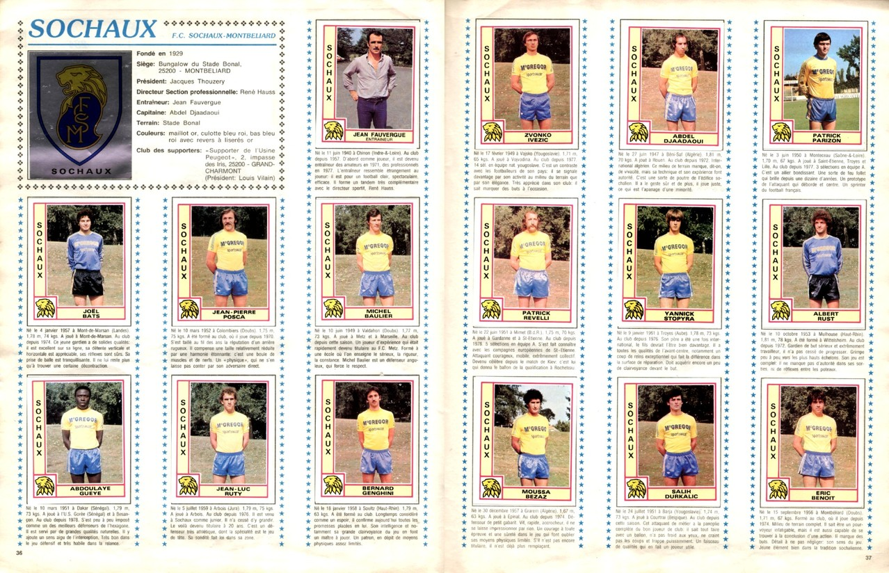 1979-80 - Panini 1980 - Pages 36 et 37 - FC Sochaux-Montbéliard