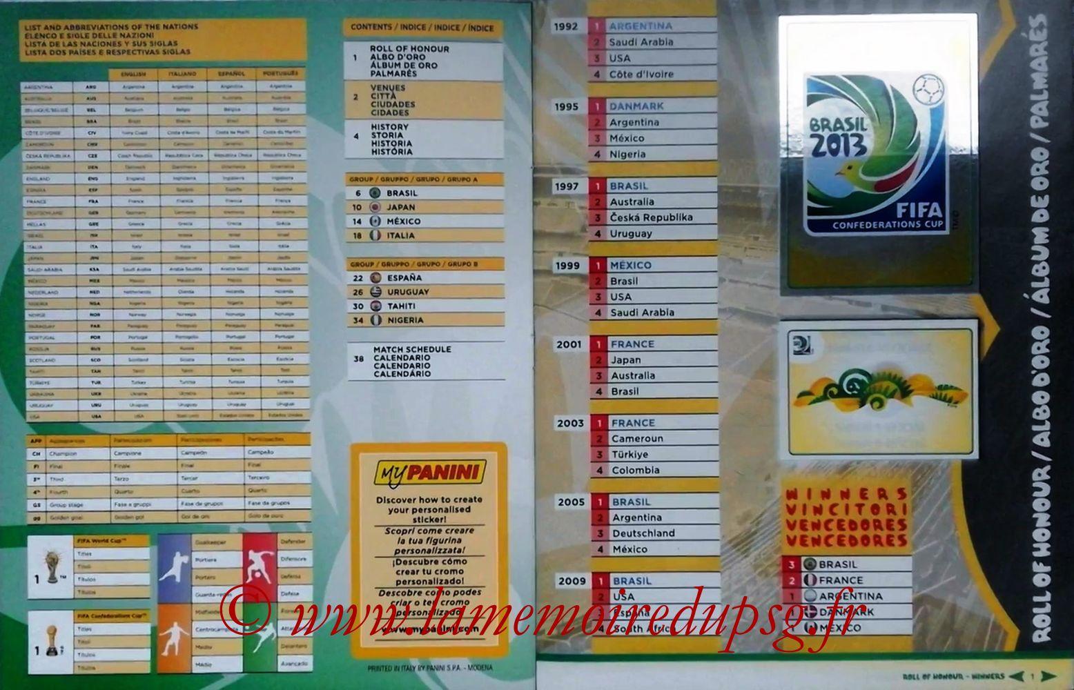 2013 - Panini Confederations Cup Brasil Stickers - Pages 00 et 01 - Sommaire et Palmares