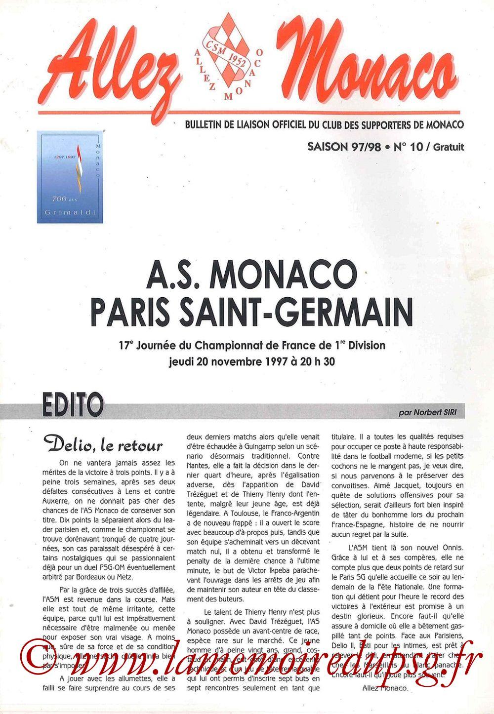 1997-11-20  Monaco-PSG (17ème D1, Allez Monaco N°10)