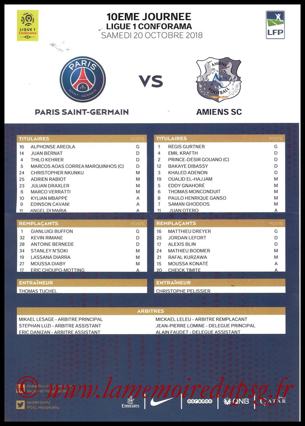2018-10-20  PSG-Amiens (10ème L1, Feuille de match)