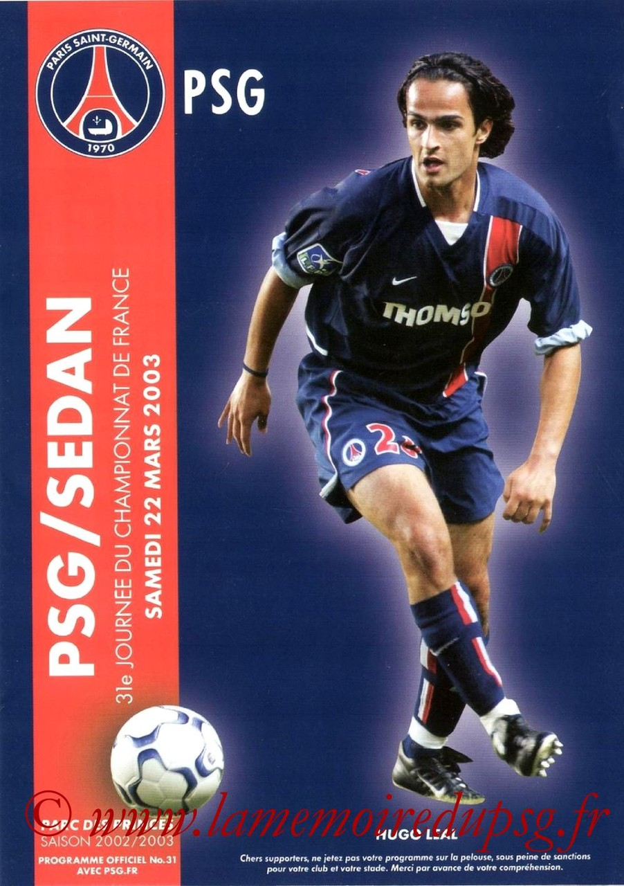 2003-03-22  PSG-Sedan (31ème D1, Programme officiel N°31)