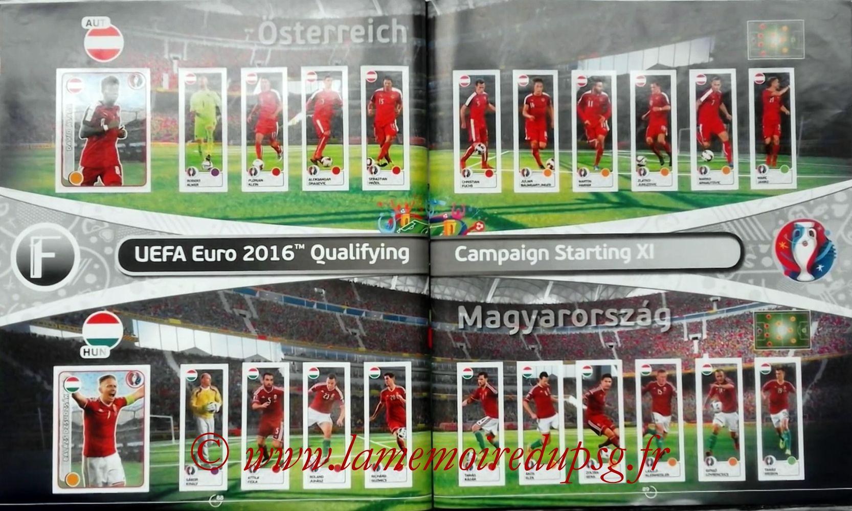 Panini Euro 2016 Stickers - Pages 88 et 89 - Autriche et Hongrie
