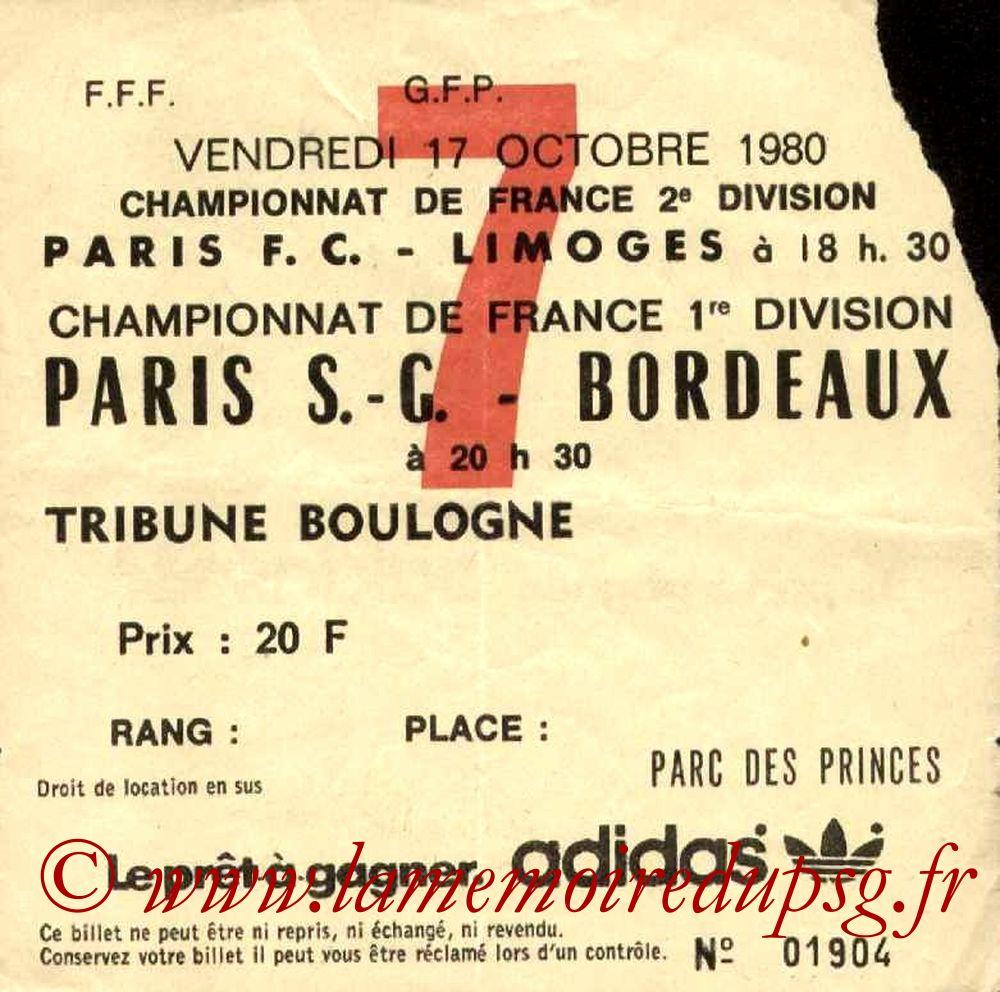 1980-10-17  PSG-Bordeaux (15ème D1, Ticket N°7)
