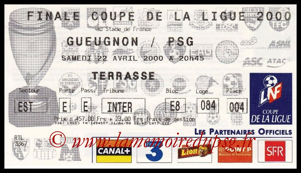 Ticket Finale CL N° 06 - 2000-04-22 - Gueugnon-PSG (Stade de France)