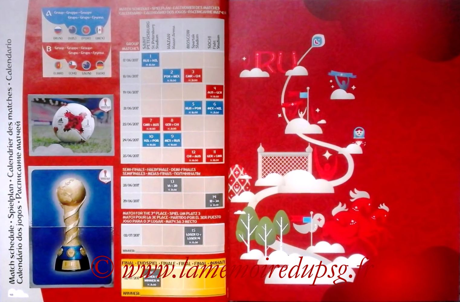 2017 - Panini Confederations Cup Russia Stickers - Pages 48 et 49 - Calendrier