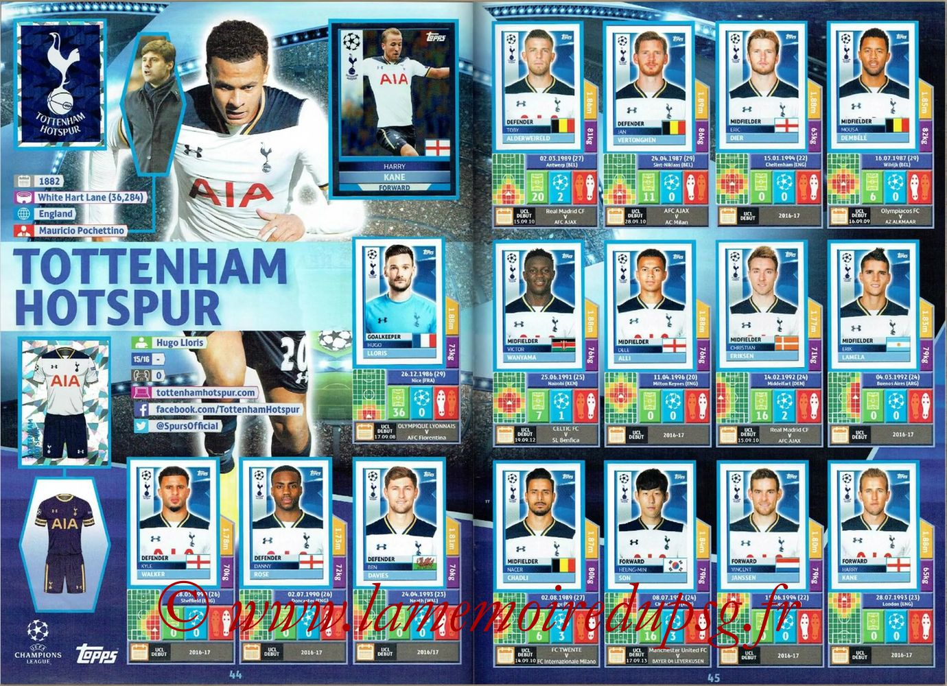 2016-17 - Topps UEFA Champions League Stickers - Pages 44 et 45 - Tottenham Hotspur