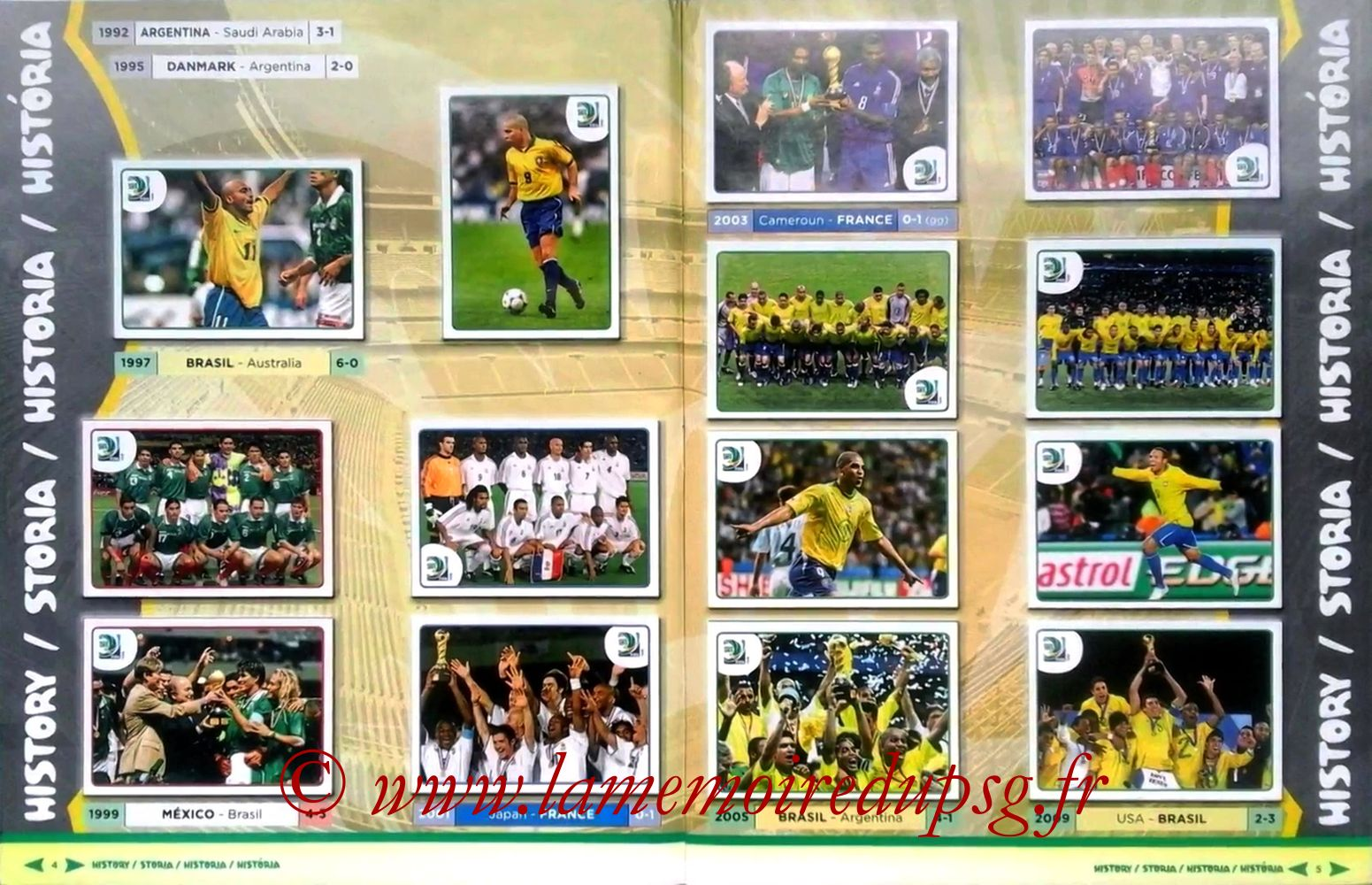 2013 - Panini Confederations Cup Brasil Stickers - Pages 04 et 05 - Histoire