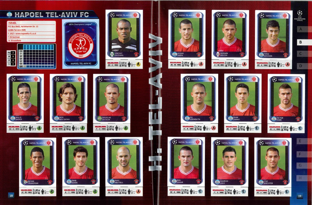 2010-11 - Panini Champions League - Pages 18 et 19 - Hapoel Tel-Aviv FC