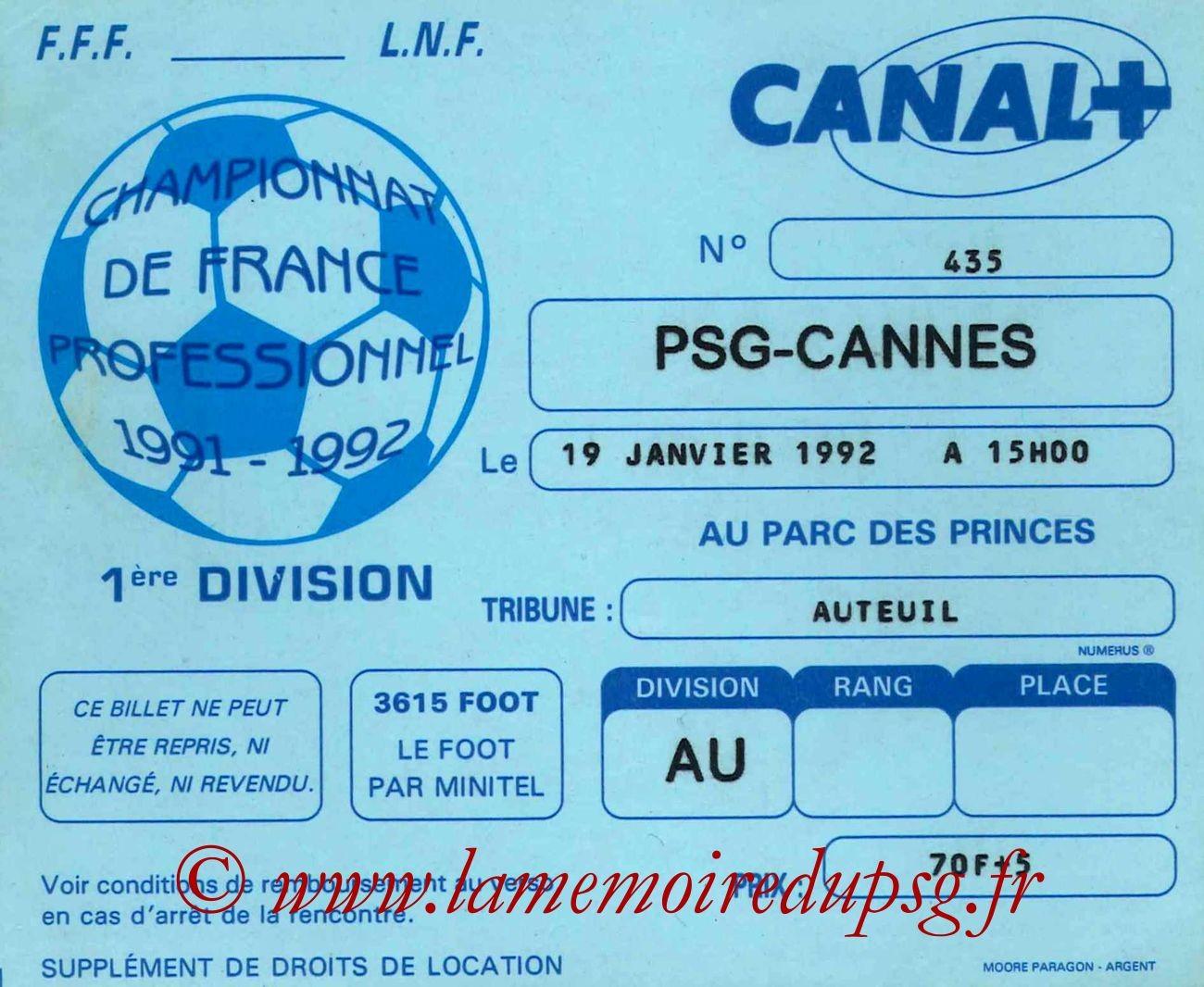 1992-01-19  PSG-Cannes (25ème D1)