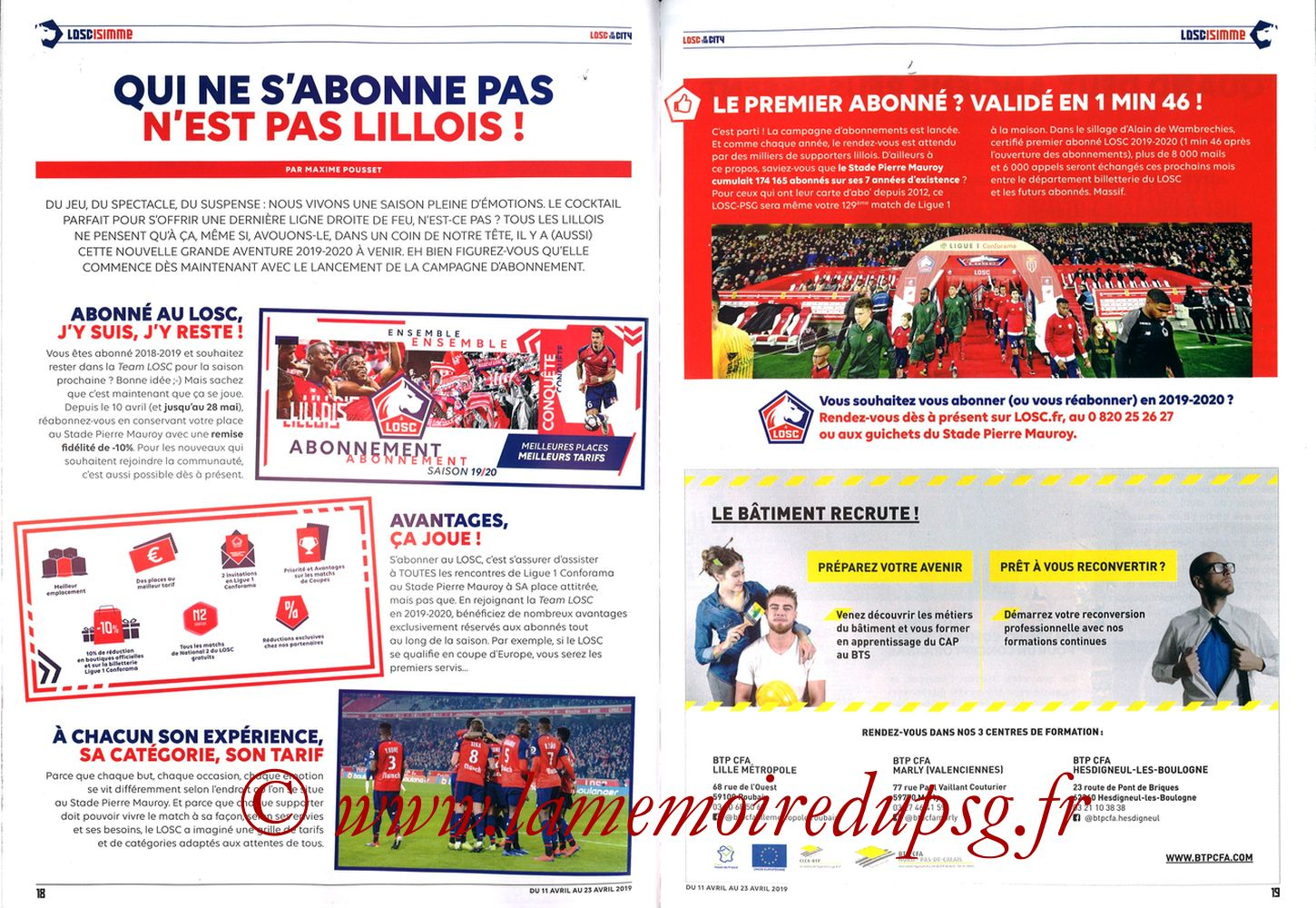 2019-04-14  Lille-PSG (32ème L1, LOSC In the City N° 28) - Pages 18 et 19