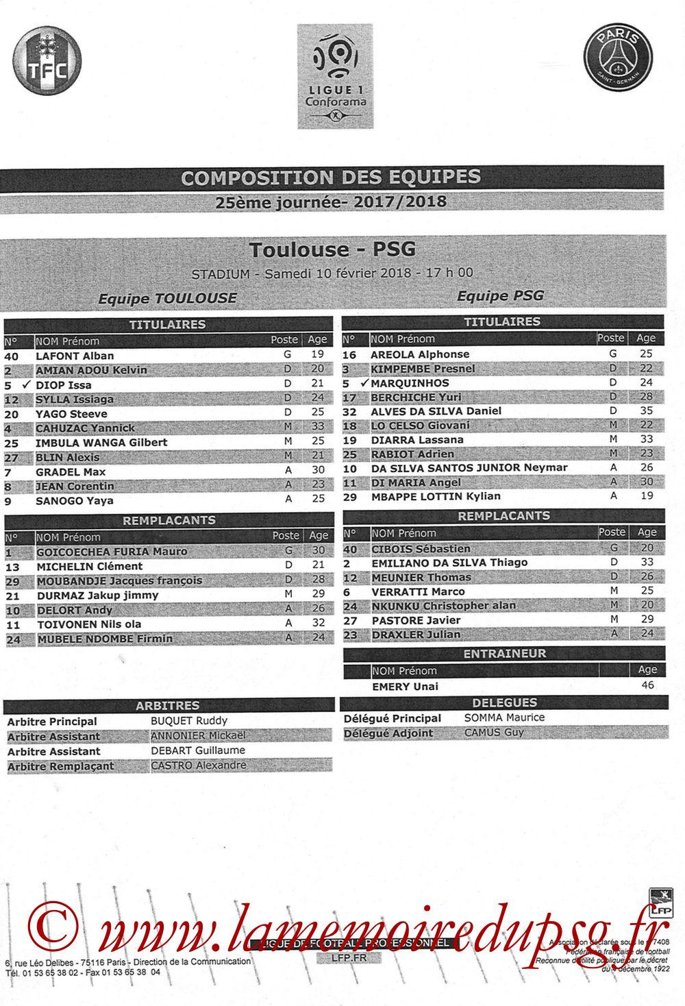 2018-02-10  Toulouse-PSG (25ème L1, Feuille de match)