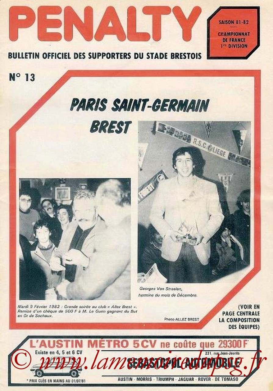 1982-02-20  Brest-PSG (27ème D1, Penalty N° 13)