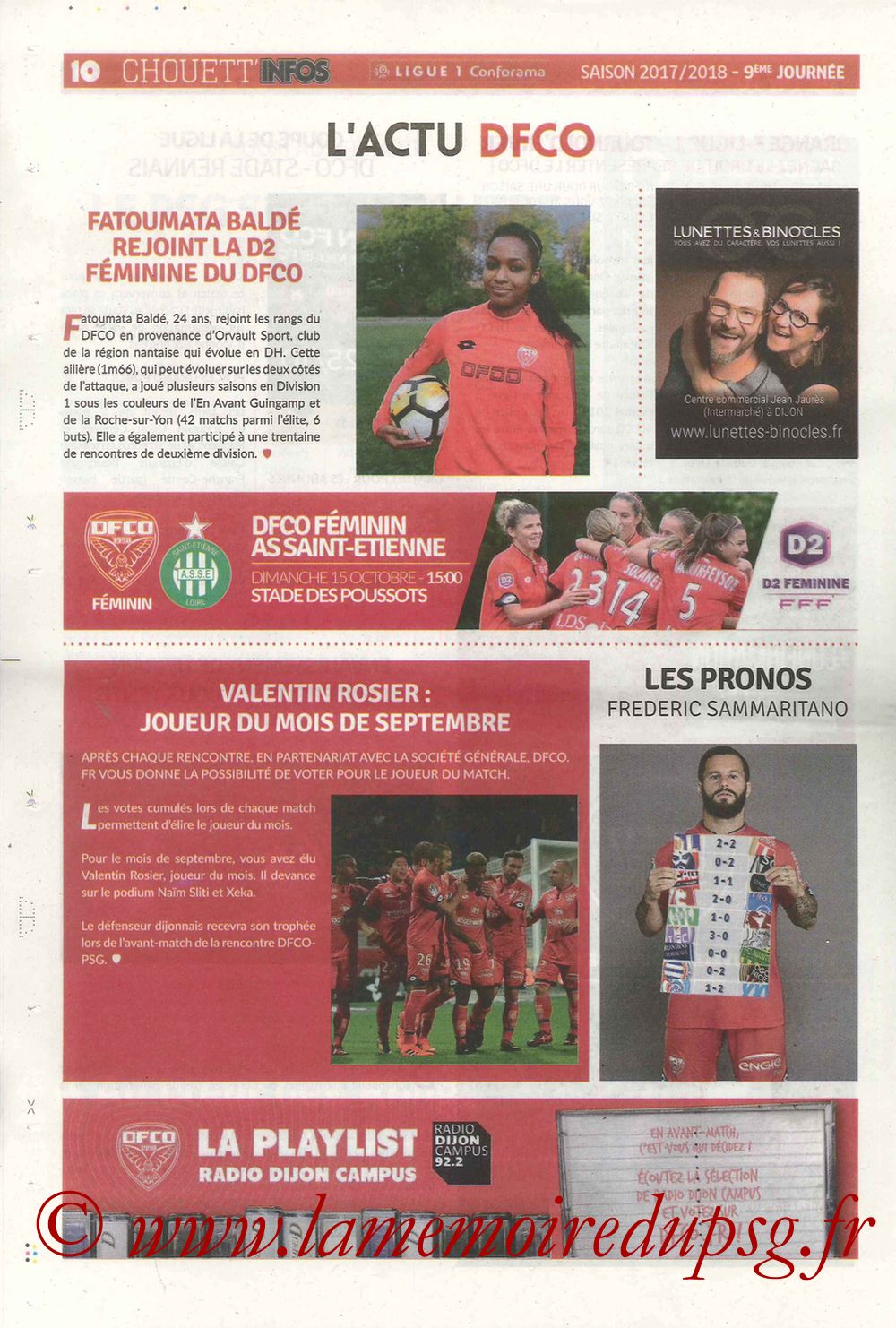 2017-10-14  Dijon-PSG (9ème L1, Chouett'Infos N°5) - Page 10