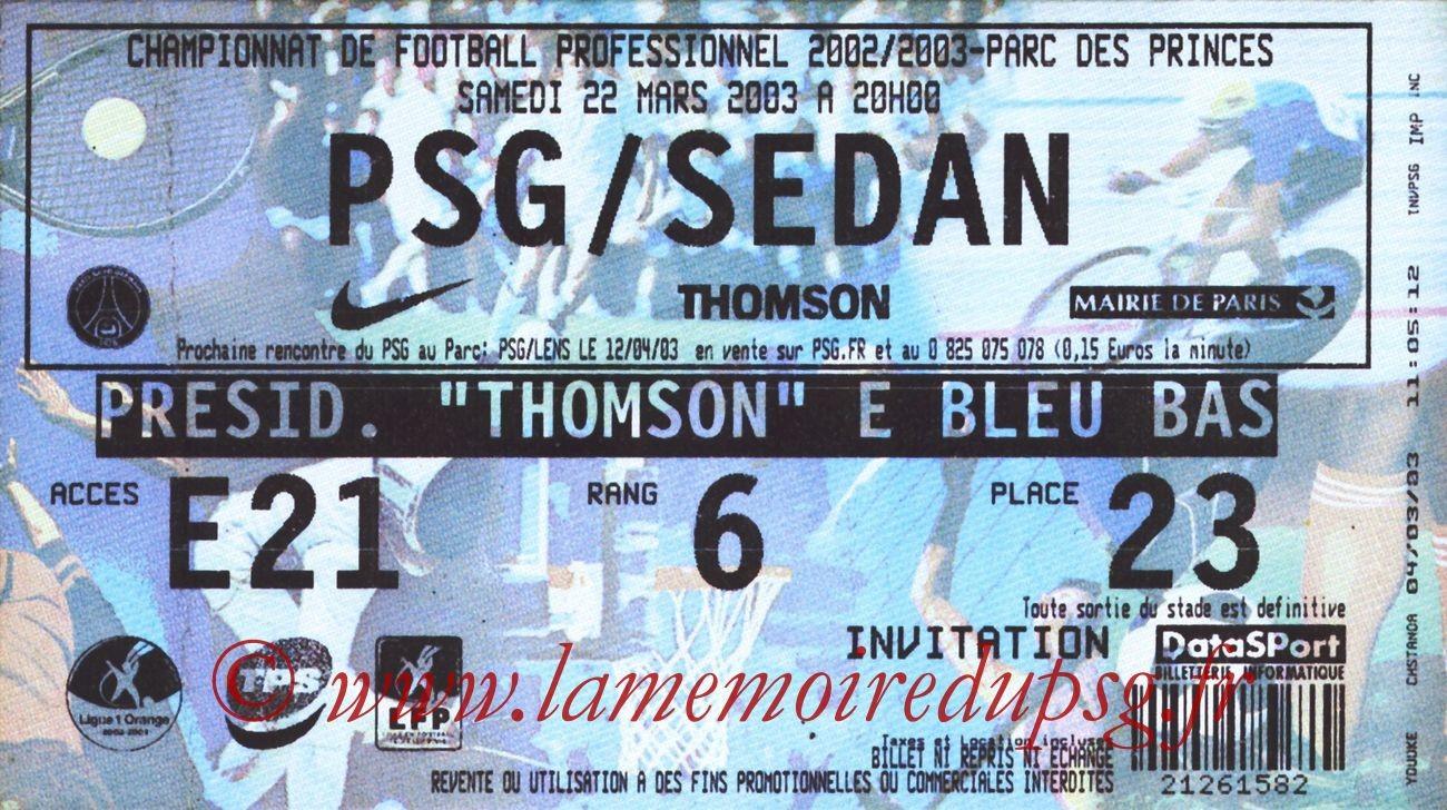 2003-03-22  PSG-Sedan (31ème L1)
