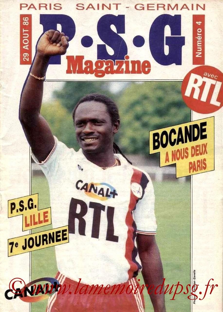 1986-08-29  PSG-Lille (7ème D1, PSG Magazine N°4)